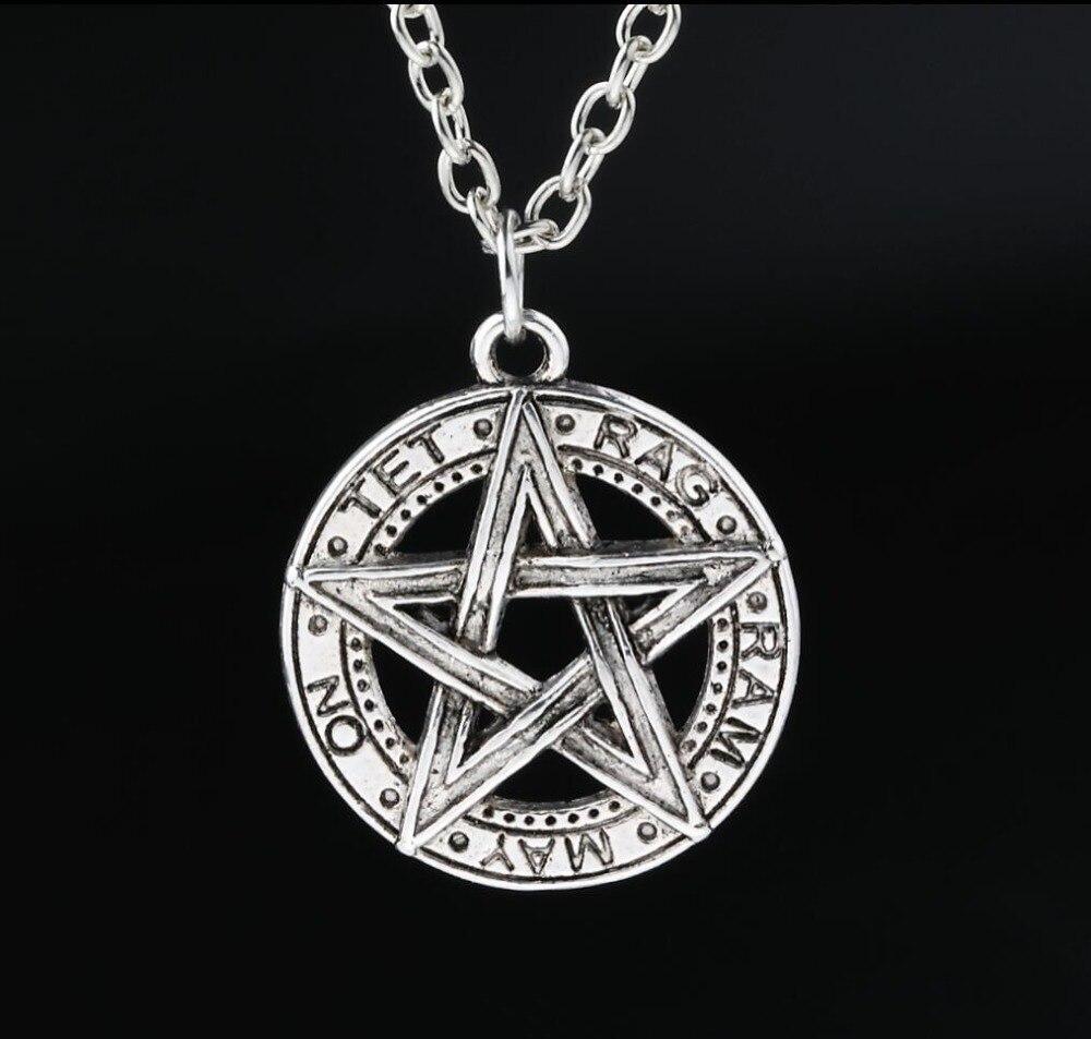 Online color invert picture - Invert Pentacle Pentagram Star Pewter Fashion Pendant Necklace For Lady Boy Man Alchemist Necklace New