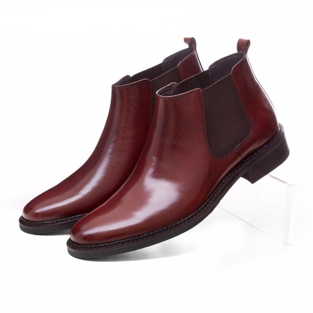 Grande taille EUR45 Brun tan/noir homme d'affaires chaussures cheville bottes en cuir véritable hommes chaussures mode robe chaussures