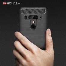 купить For HTC U12 Plus Case Carbon Fiber Shockproof Silicone Protective Back Cover for HTC U12 Plus U12Plus Case Ultra Thin Funda дешево