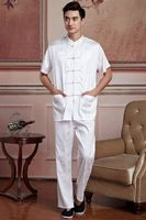 Top Selling White Mens Shirt Trousers Suit Vintage Chinese Classic Style Short Sleeve Kung Fu Sets Size S M L XL XXL XXXL 2519 5
