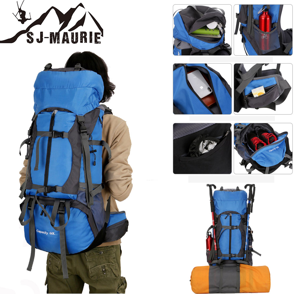 60L Backpack Cover Camping Hiking Bag Backpacks Mountaineering Travel Bag with Backpack Waterproof Cover and Reflective Strip