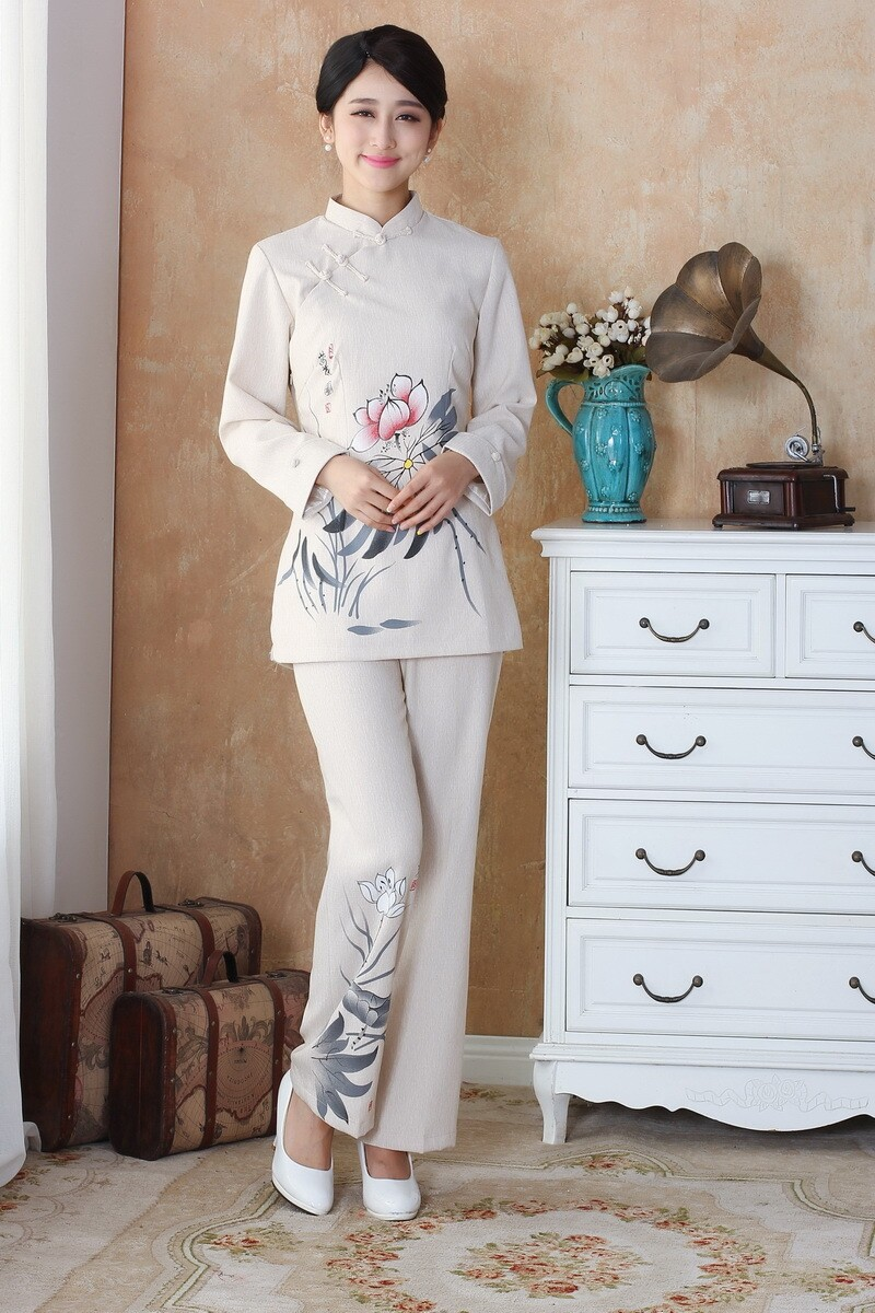 New Arrival Beige Chinese Women s Shirt Pants Sets Cotton Linen Tang Suit Clothing Size S
