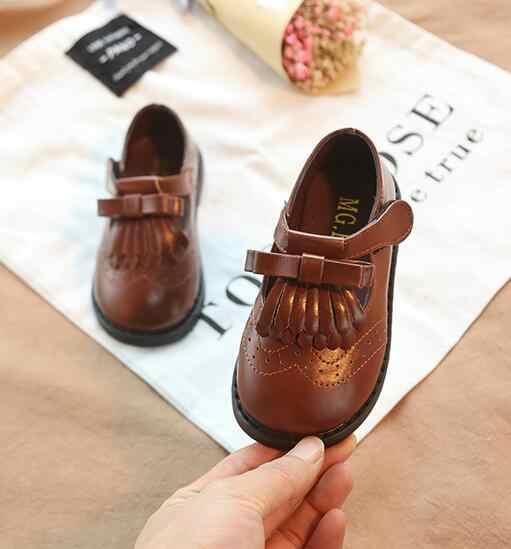 2019 lente nieuwe Britse wind kinderen schoenen boog schoenen baby casual schoenen in kinderen kwastje enkele schoenen