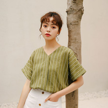 Striped v neck blouse women summer short sleeve casual ladies shirts sexy  backless korean style vintage white green tops 65caaacb0514