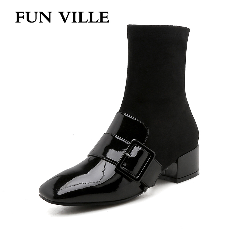 FUN VILLE Autumn winter 2018 New Fashion Women Ankle boots Genuine leather Black White Square heel sexy ladies shoes Square Toe 2017 new fashion lace up women boots genuine leather square heel black autumn winter sexy brand ladies ankle boots women shoes