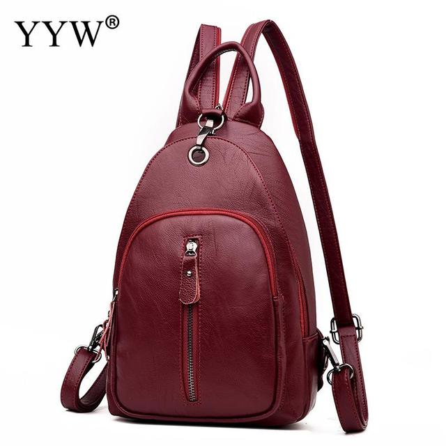 5c816482ec6a Burgundy PU Leather Backpack Vintage Multifunctional Bag Fashion School  Back Bags Women Soft Patchwork Women Sling Chest Bag