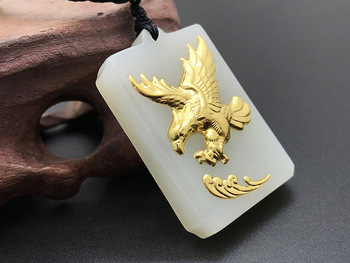 Natural HeTian Yu white jade  Seize the opportunity Da zhan hong tu eagle amulet Necklace + Certificate