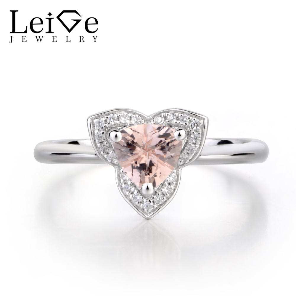 Leige Jewelry Natural Pink Morganite Engagement Rings Solid 925 Sterling Silver Ring Trillion Cut Gemstone Ring Gifts for WomenLeige Jewelry Natural Pink Morganite Engagement Rings Solid 925 Sterling Silver Ring Trillion Cut Gemstone Ring Gifts for Women