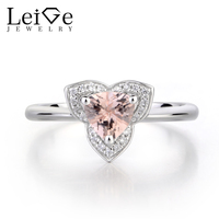 Leige Jewelry Natural Pink Morganite Engagement Rings Solid 925 Sterling Silver Ring Trillion Cut Gemstone Ring Gifts for Women