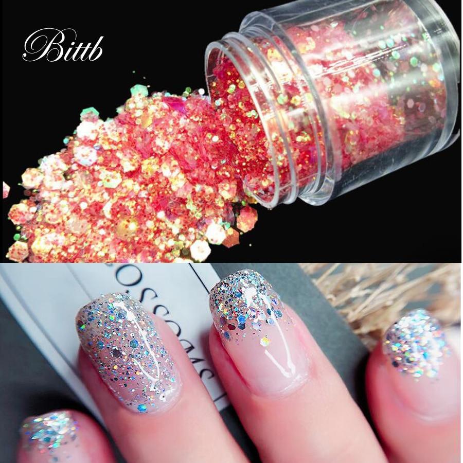 Bittb Nail Art Glitter Mixed Chunky Glitter Powder Holographic Sequins Flakes DIY Nails Decoration Uv Gel Polish Manicure Tools
