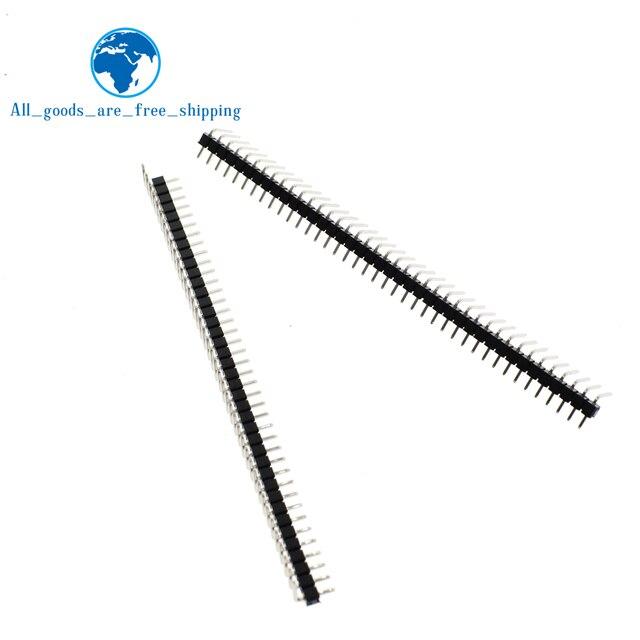 Gran venta 10 piezas unids 40 pines 1x40 fila única macho 2,54mm conector de ángulo recto conector de clavija de flexión