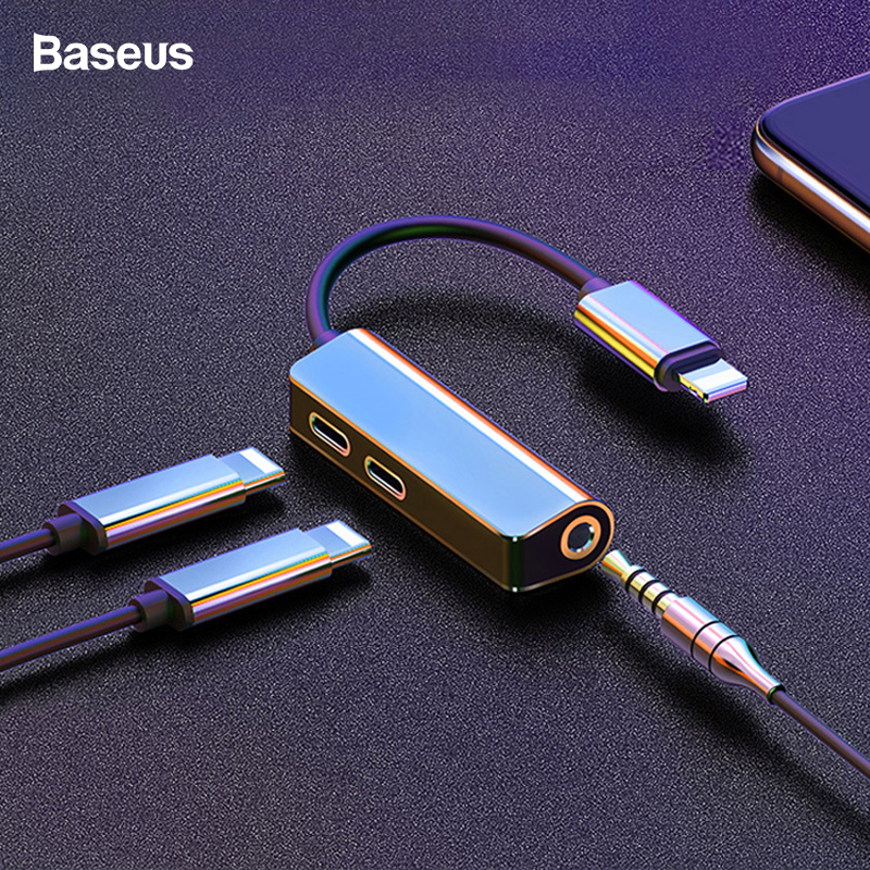 Baseus AUX Audio Adapter For Lightning To 3.5mm Earphone Charging Splitter For IPhone XS Max Xr X 8 7 Plus OTG Cable Converter