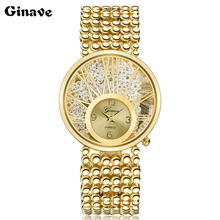 GINAVE Woman Watches Quartz Clock Watch mujer gift Luxury Crystal Women Bracelet Lady Fashion Dress