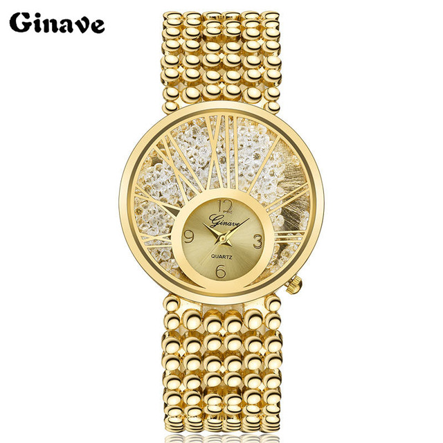GINAVE Woman Watches Quartz Clock Watch mujer gift Luxury Crystal Women Tree Dia