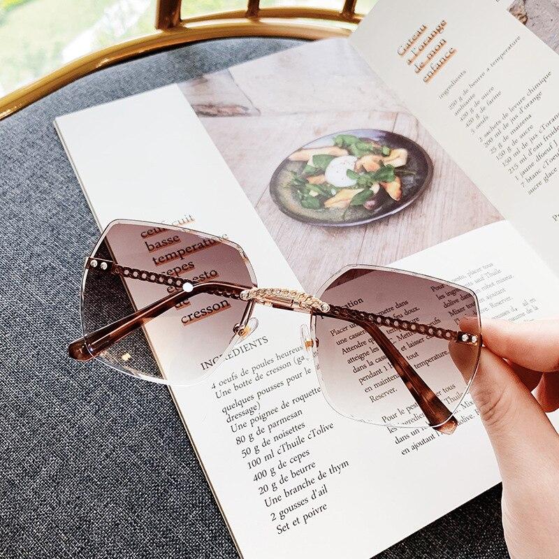 FEISHINI Rimless Sunglasses Oversized Classic Gradient Vintage Fashion Women Brand Designer