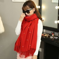 Winter Fur Capes Casual Solid Color Christmas Pashmina Shawl Warm Cashmere Pearl Tassel Scarves