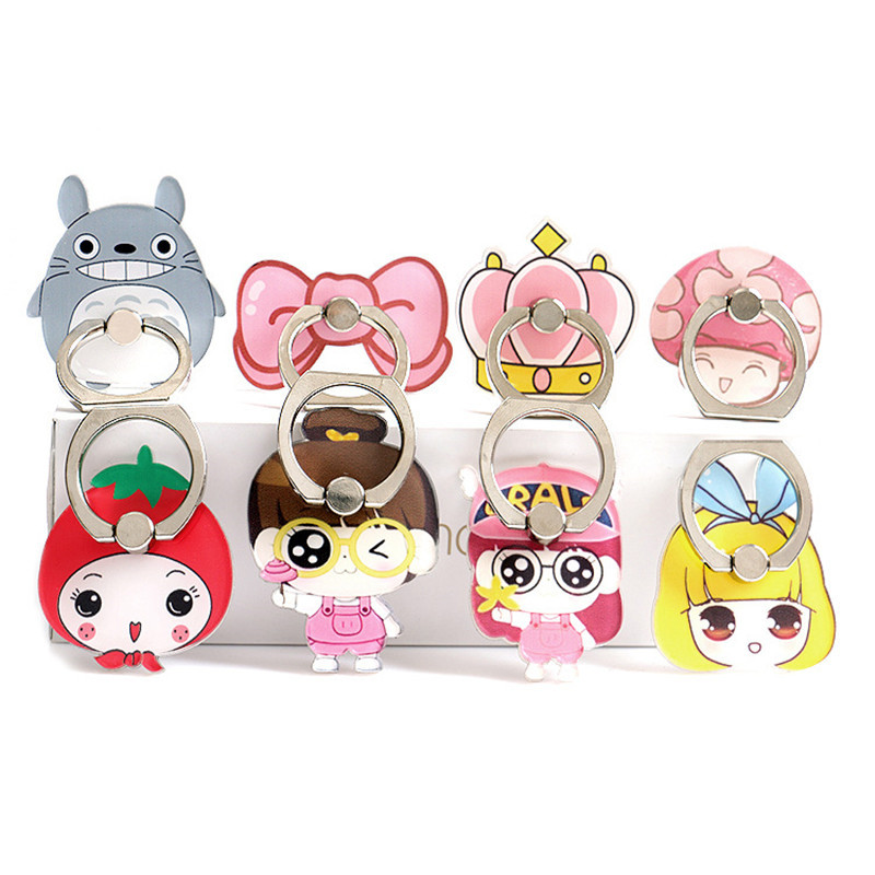 Hot Iring Mobile Phone Bracket Cartoon Fruit Ring Buckle Bracket Lazy Phone Holder Totoro Crown Crown Strawberry Cell Phone Ring