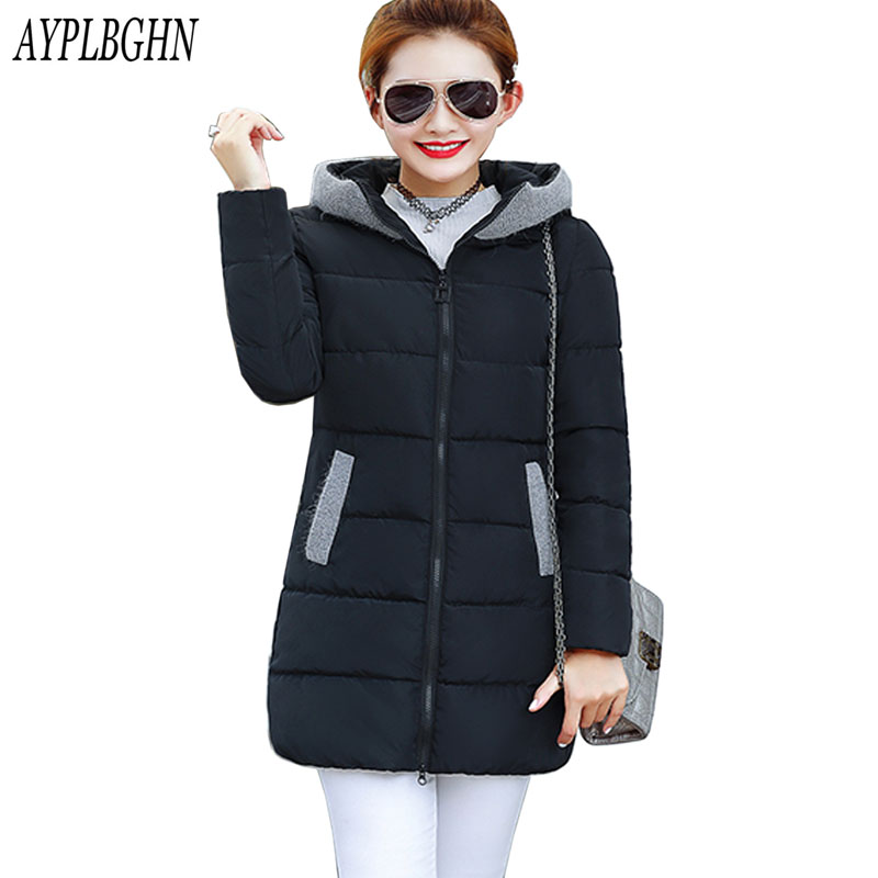 Winter Jacket 2017 New Women Hooded Thicken Coat Female fashion Warm Outwear Down Cotton-Padded Long Wadded Jacket Coat Parka цена и фото