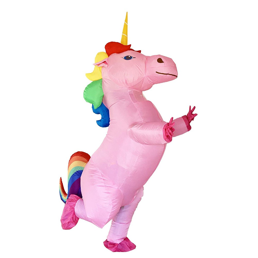Rainbow Unicorn Adult Kids Inflatable Costume Pony Halloween Costumes for Women Men Cosplay Fantasia Party Inflatable