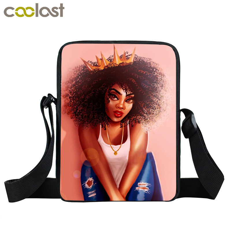 Afro Lady Girl messenger bag Africa Beauty Princess small shoulder bag brown women handbag mini totes teenager crossbody bags 21