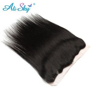 Image 5 - Бразильские пряди волос AliSky с фронтальным переплетением 13x4, прямые пряди волос с застежкой, человеческие волосы Remy