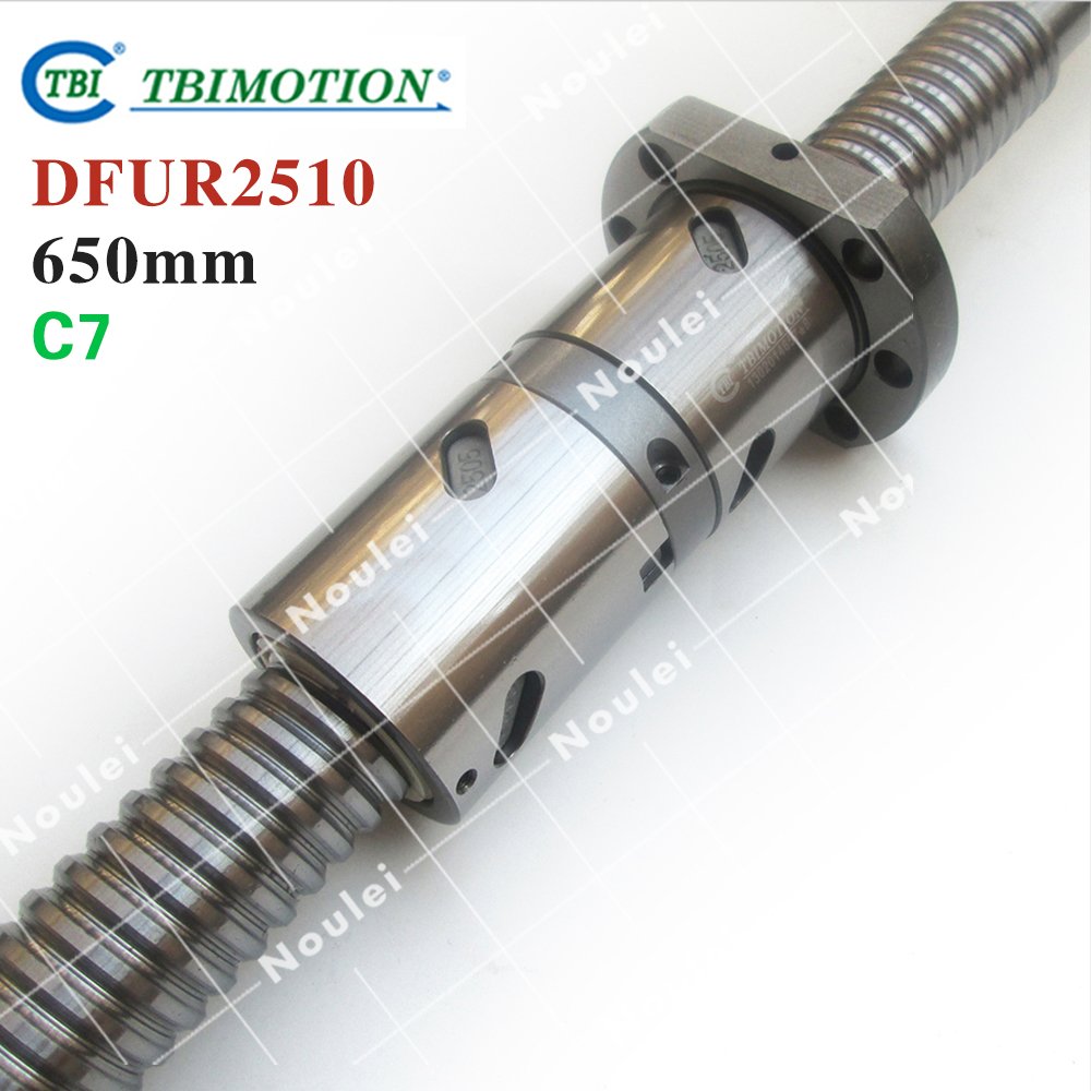 TBI 2510 C7 650mm ball screw 10mm lead with DFU2510 ballnut Ground for high precision CNC diy kit DFU set tbi 2510 c3 620mm ball screw 10mm lead with dfu2510 ballnut end machined for cnc diy kit dfu set