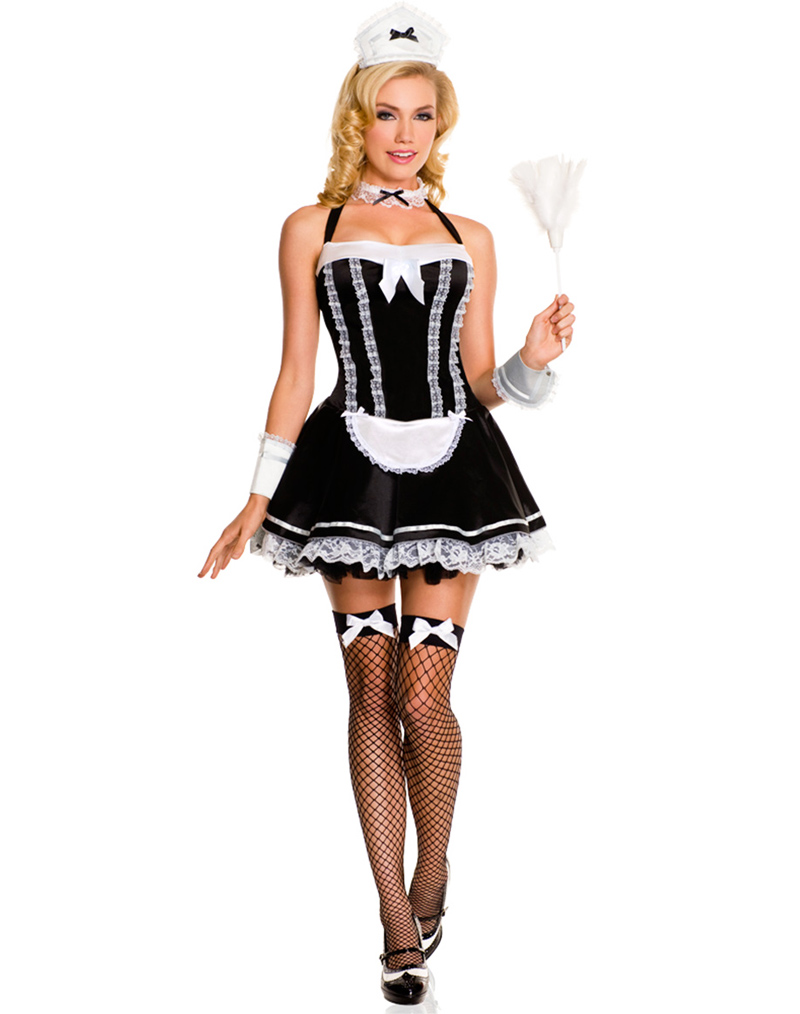 French Maid Sexy Costumes Flirty Servant Maid Costume -2930