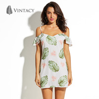 Vintacy Cold Shoulder Short Dress Women Ruffles Strap V Neck Backless Dresses Palm Leaves Floral Print