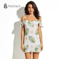Vintacy Cold Shoulder Short Dress Women Ruffles Strap V Neck Backless Dresses Palm Leaves Floral Print