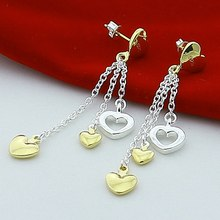 Stud-Earrings Jewelry 925-Sterling-Silver Small Women Heart for Girl Gold-Color Gift