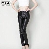 2019 Новое поступление модные женские длинные брюки из натуральной кожи овчины тощий плюс Размеры Slim Fit сексуальный брюки с эластичным поясом