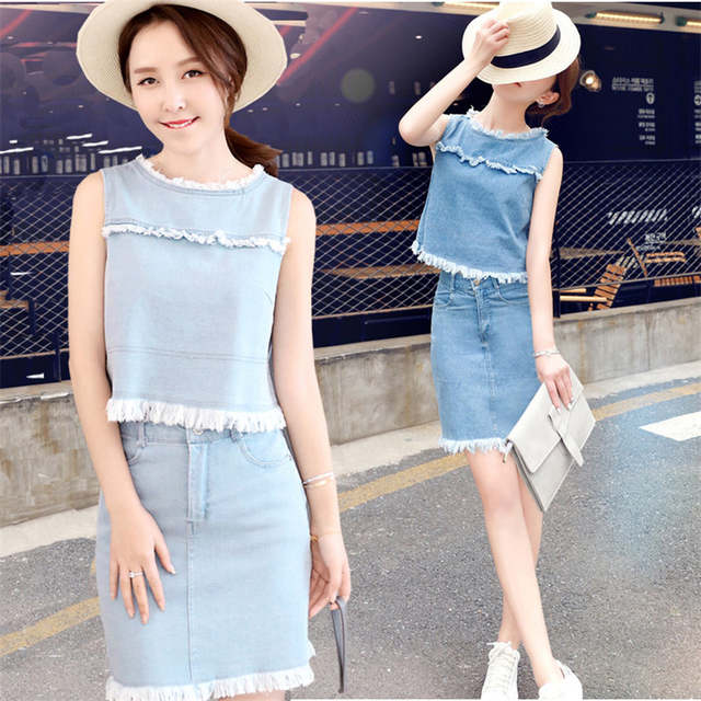 4869b35be25d placeholder TNLNZHYN 2019 Girls Womens Jeans Suits Fashion 2 Pcs Skirts  Suits Sleeveless Denim Skirts Set Hot