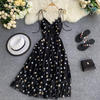 MUMUZI Sexy spaghetti dress female summer star sequins black dresses sexy chic party retro long dress for women