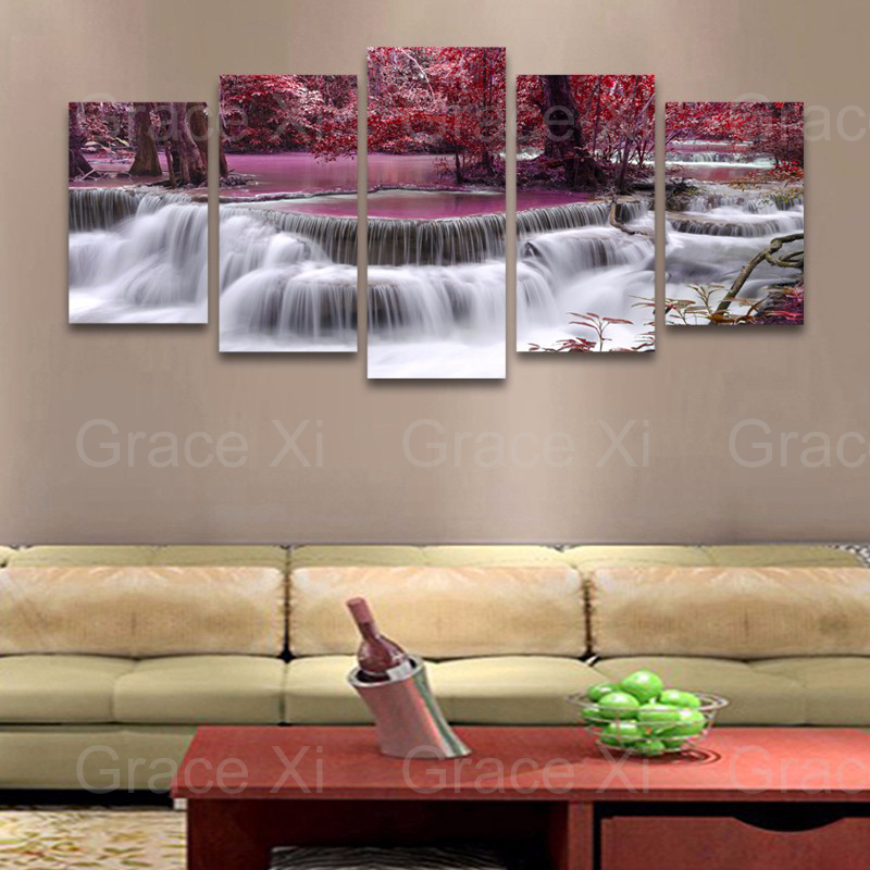 5 Plane Waterfall Canvas Painting Wall Art Picture Home Decoration Canvas Pictures For Living Room Canvas Print Unframed PR1160