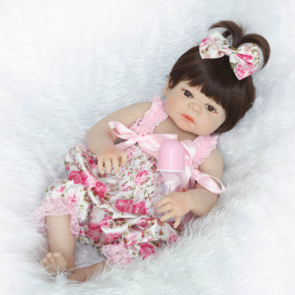 Nicery 22inch 55cm Magnetic Mouth Reborn Baby Doll Hard Silicone Lifelike Toy Gift for Children Christmas Pink Red Flowers Toy new lcd display matrix for 7 nexttab a3300 3g tablet inner lcd display 1024x600 screen panel frame free shipping