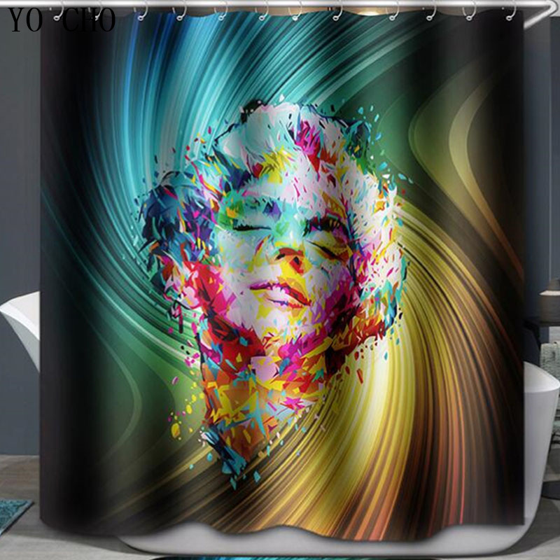 Hot Sale High Quality Waterproof shower Multicolored Monroe Shower Curtain Bathroom Curtain Dancing Life curtains for bath room
