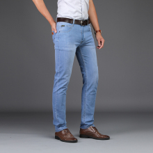 2019 Men Spring Summer Jeans Denim Mens Slim Fit Plus Size to 40 Big and Tall Pants Thin Dress