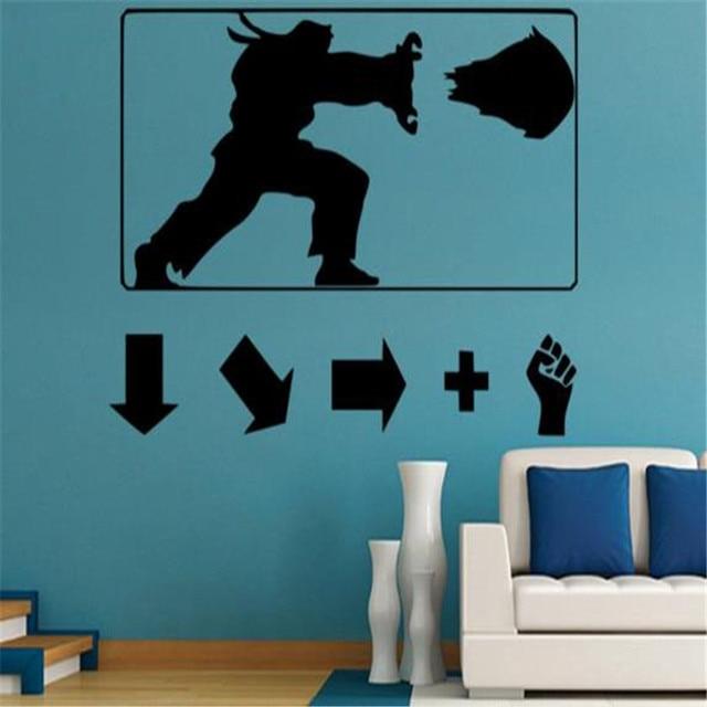 US $8 67 21% OFF|Hadouken Haduken Poster Ryu Ken: Geek Gamer Vinyl Wall  Sticker Street Fighter for kids room-in Wall Stickers from Home & Garden on