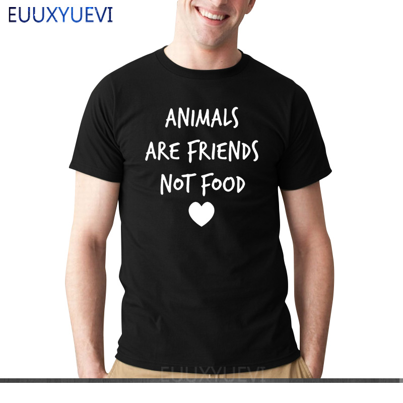 ANIMALS ARE FRIENDS not food Letters Print men tshirt Cotton Casual Funny t shirts For boy man Top Tee Hipster Drop Ship EU-386