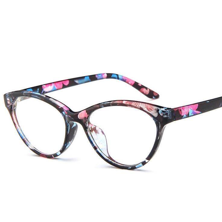 2017 New Cat Eye Glasses Frame Women Brand Vintage Optical Print Frame Cat's Eye glasses computer Eyewear 8 color oculos de grau