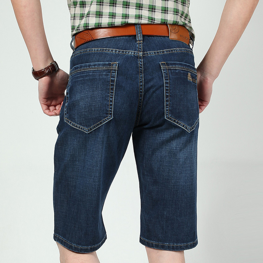 Men Summer Cool Big Size 29-42 High Quality Elastic Mens Jeans Shorts Male 5 Point Shorts Male Big Goods Foot Demin Shorts 68wy