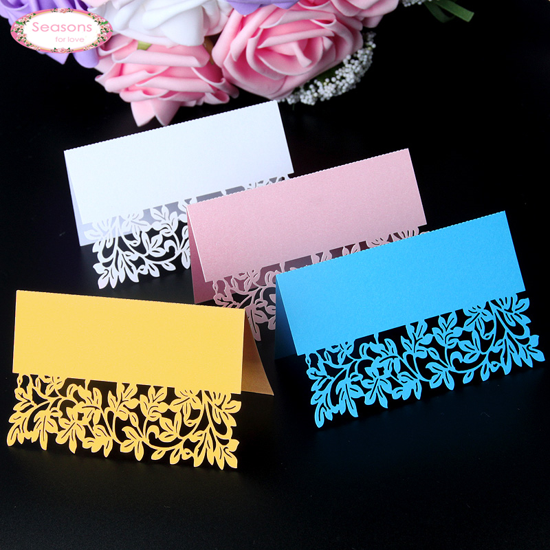 40pcs Vine Leaf Laser Cut Party Table Name Place Cards Wedding Cards Table Decoration Mariage Favors