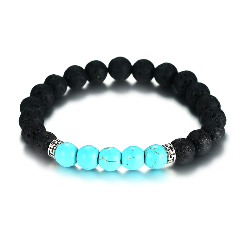 Mens Turquoises Volcanoes Lava Stone Diffuser Bracelet for Men Hippie Turkish Stones Stretch Braslet Male Jewelry