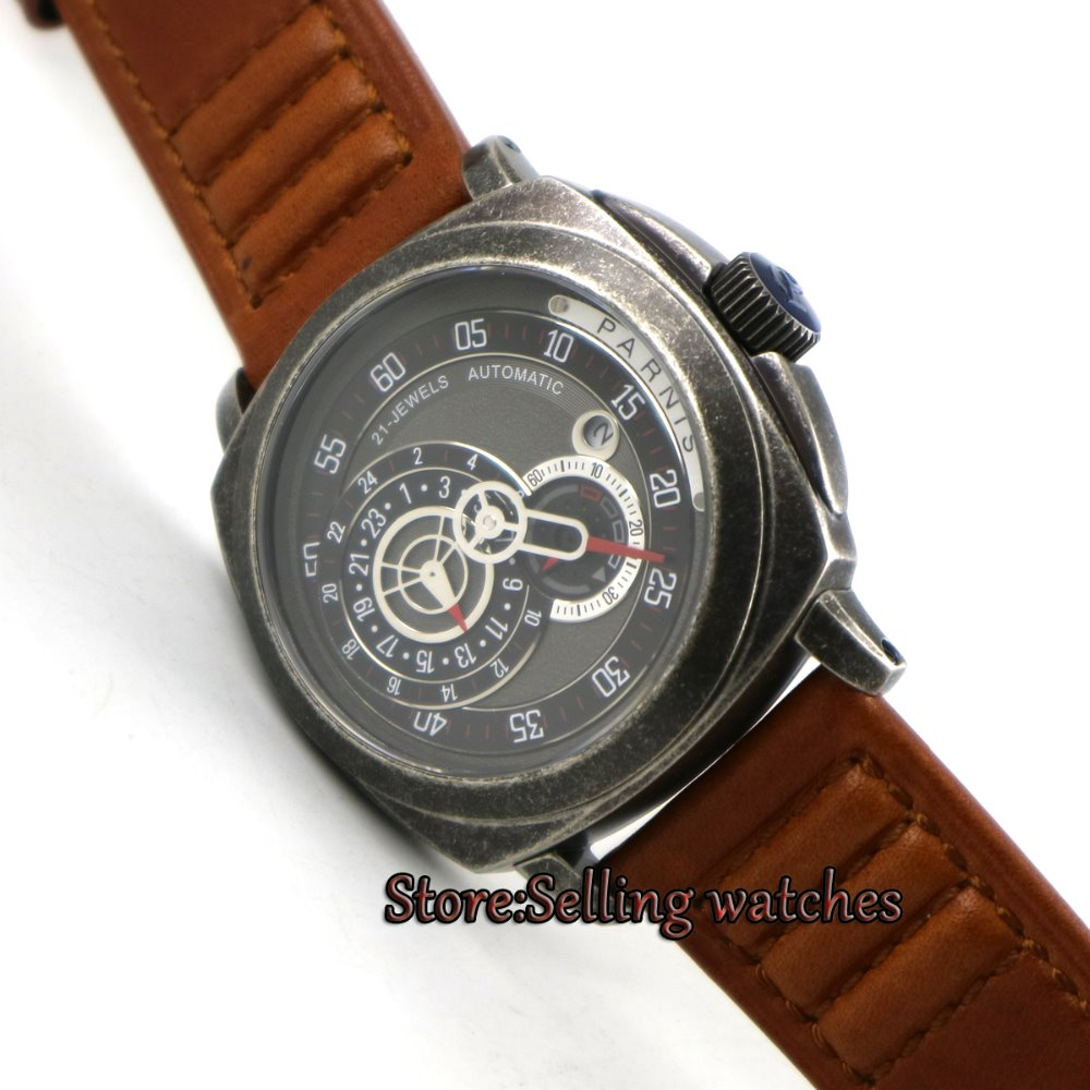 лучшая цена 44mm Parnis Black Dial Sapphire Patterned Case Automatic Military Mens Watch P099