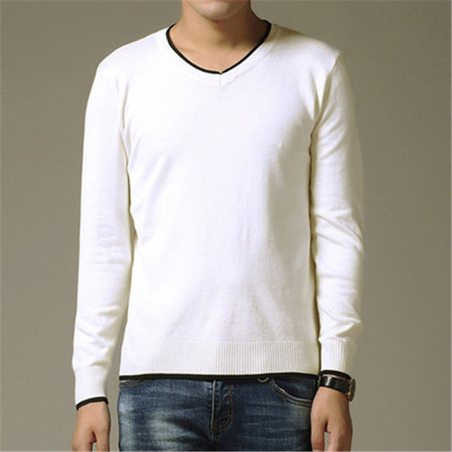 Winter Men Jumper 100% Pure Cashmere Knitted Sweater V-neck Long Sleeve Warm Pullovers Male 2017 New Sweaters Plus size clothes