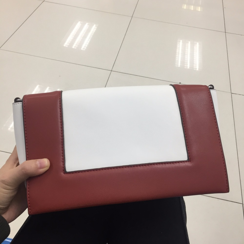 [Hely Coptar] Genuine Leather Luxury Designer High Quality Cow Leather Fahion Shoulder Frame Bag red White 2 Shoulder straps