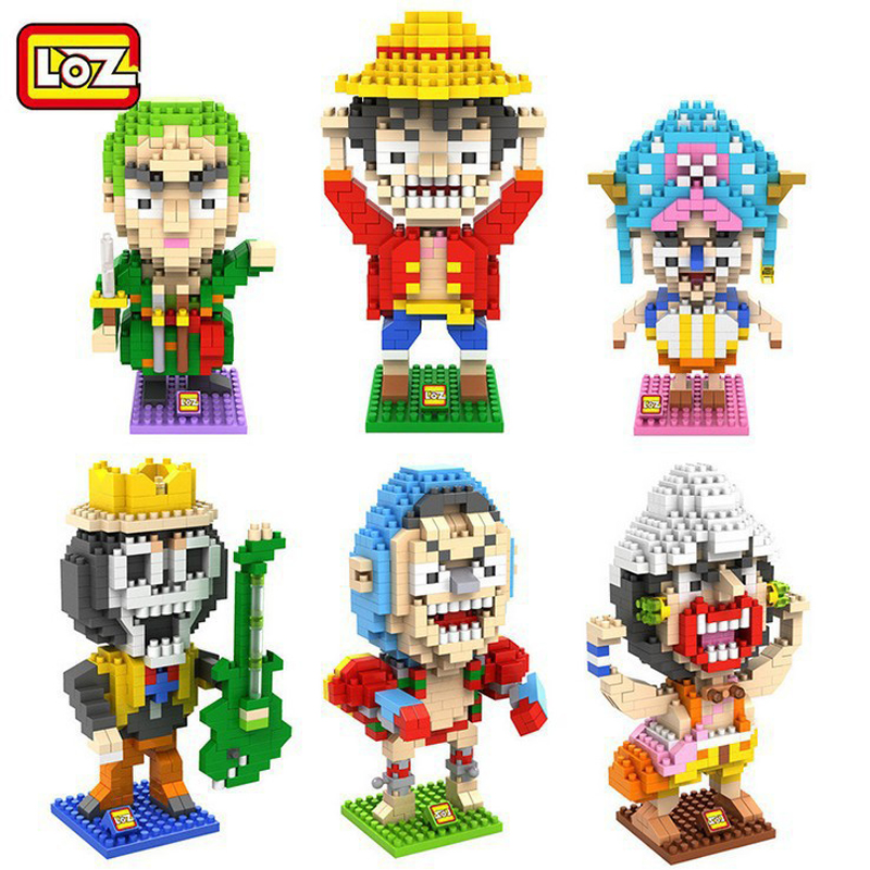 6pcs/lot One Piece LOZ Diamond Building Blocks Mini Cartoon DIY Toys Luffy Zoro Chopper Nano Bricks 3D Kids Toys Christmas Gifts loz diamond blocks figuras classic anime figures toys captain football player blocks i block fun toys ideas nano bricks 9548