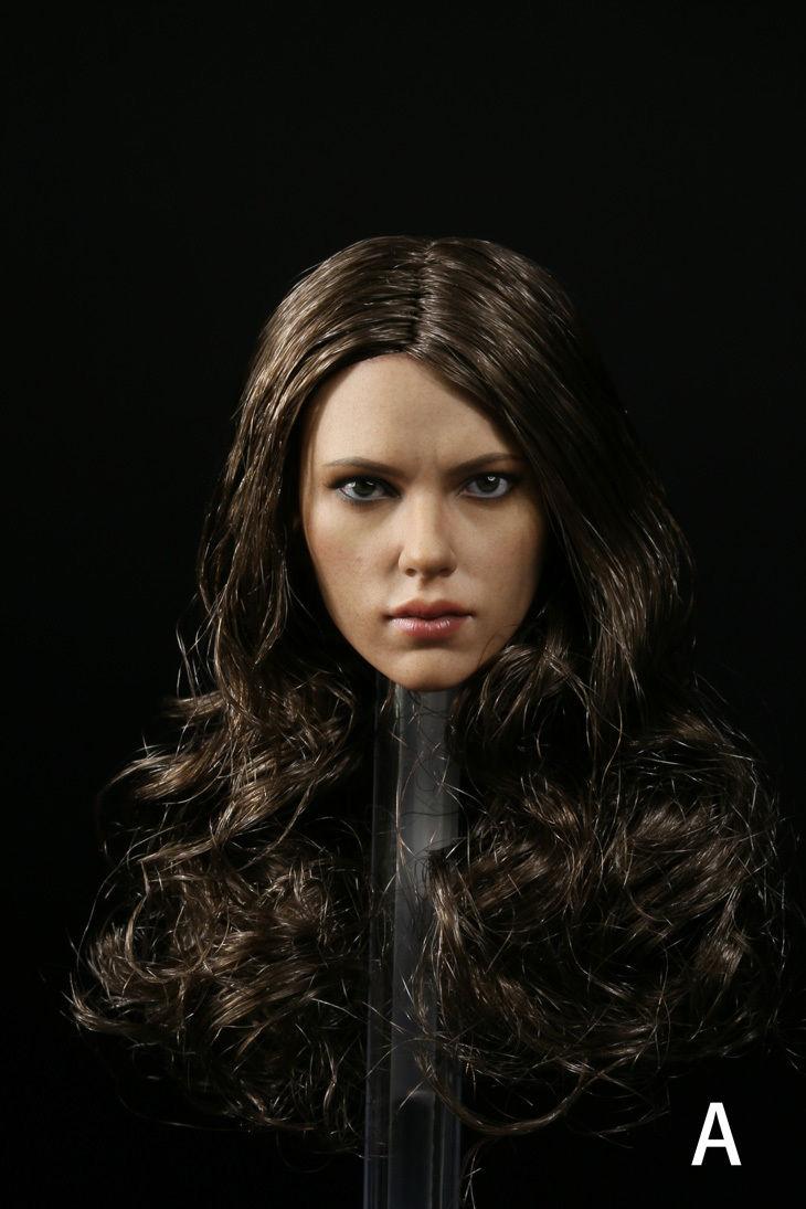 Scarlett Johansson Long Curly Hair 1/6 Scale Female Head Model fashion long curly hair wigs gold black