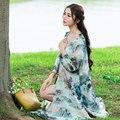Де Голубь Оригинальный дизайн женской 2016 лето национальный ветер дикий длинный участок свободные ретро печати шифон кардиган куртки