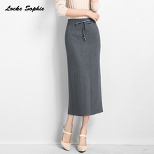 1pcs Hight waist skirts Womens Pencil 2019 Summer Knitted cotton Splicing Fork opening skirt Ladies Skinny